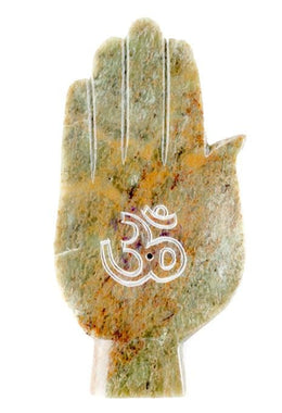 Om Hand Soapstone Incense Holder