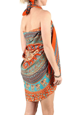 Orange Elephant & Camels Mandala Sarong