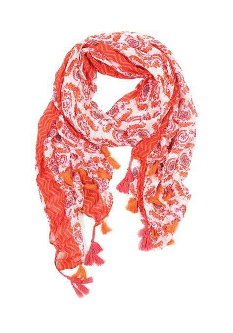 Orange Floral Shawl