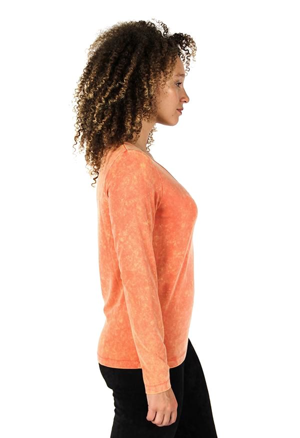 Orange Gathered Front Top