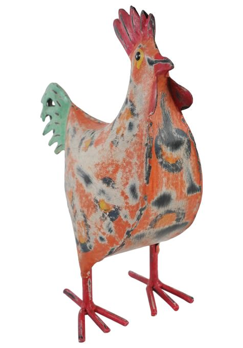 Orange Iron Rooster Statue