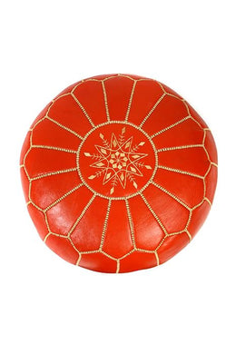 Orange Moroccan Leather Ottoman