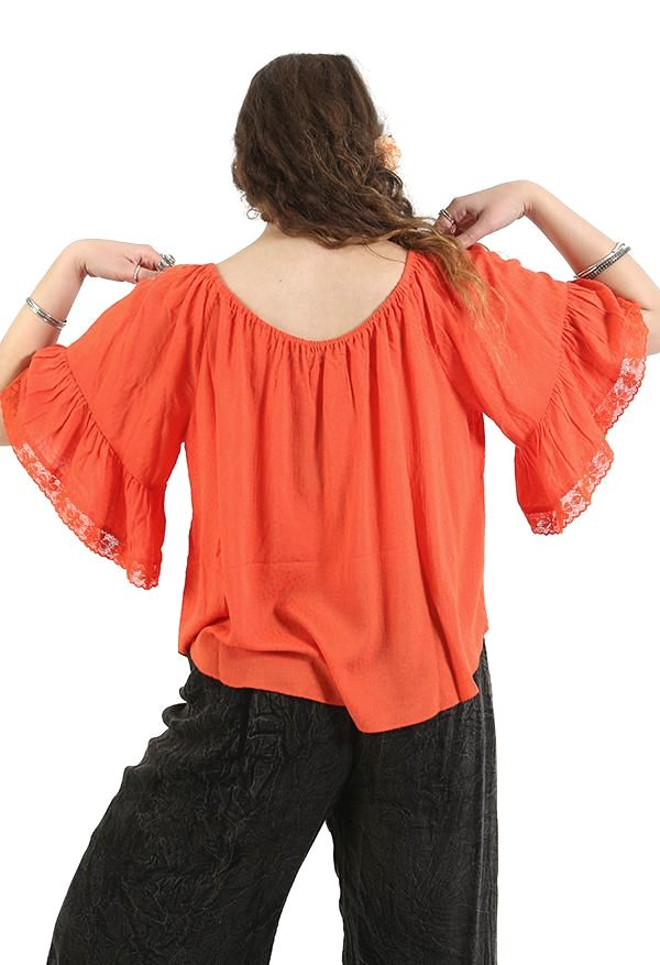 Orange Ruffle Top