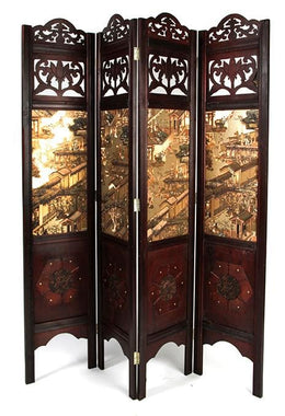 Oriental 4 Panel Gold Screen