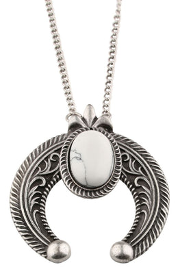 Ornate Moon and Stone White Necklace