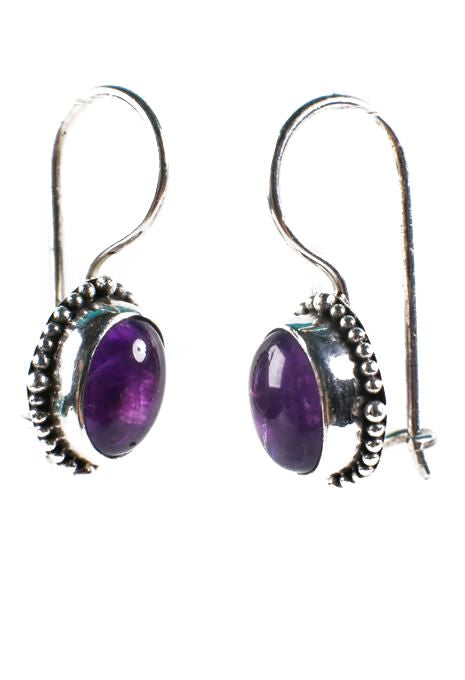 Oval Amethyst Earrings