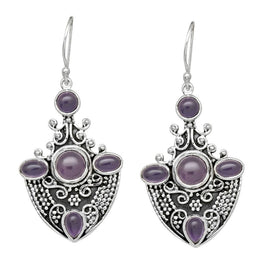 Oxidised Amethyst Shield Earrings