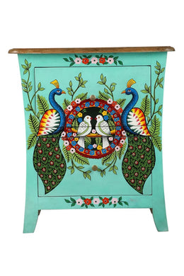 Painted Lovebirds Bedside Cabinet