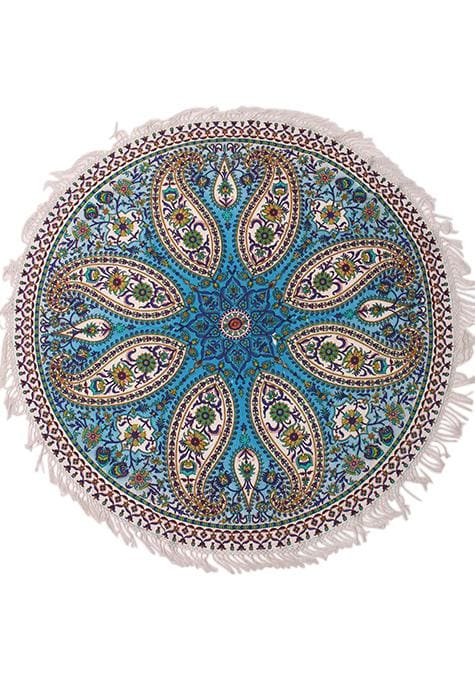 Paisley Blue Mandala Round Throw