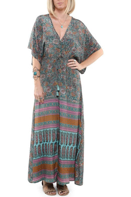 Paisley Floral Tie Front Maxi Dress