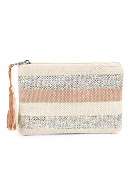 Pastel Stripe Metallic Accent Clutch