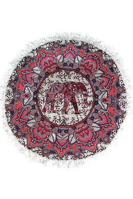 Pink Elephant Mandala Round Throw