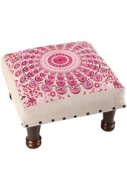 Pink Embroidered Mandala Stool
