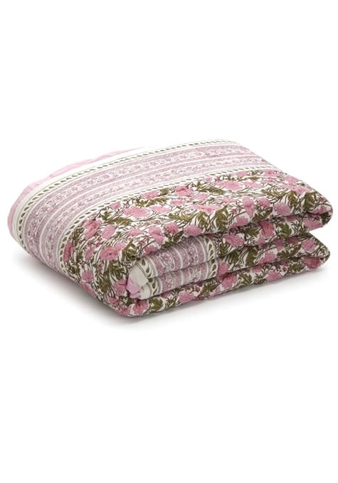 Pink Floral Print Quilt - Single