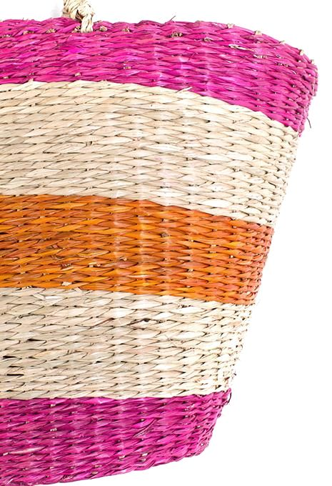 Pink & Orange Stripe Basket