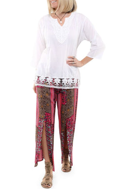 Pink Patchwork Split Pants