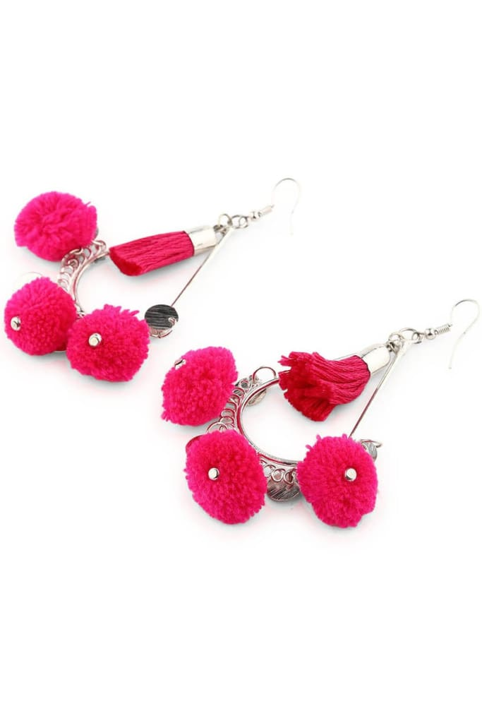181fefb68 Pink Pom Pom Drop Earrings | Costume Jewellery | ISHKA