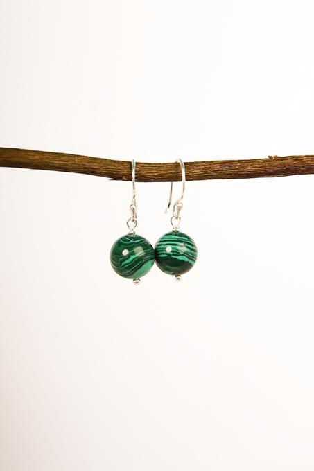 Plain Malachite Ball Earrings