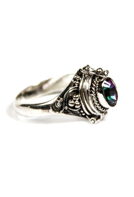 Poison Ring With Mystic Topaz Stone