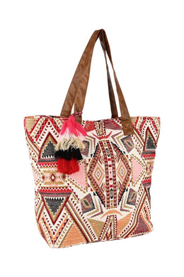 Pom Pom Woven Multicolour Shopping Bag
