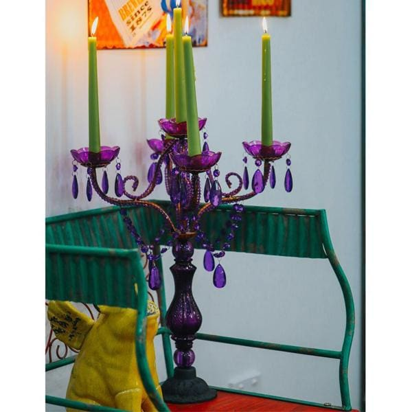 Purple Beaded Candelabra
