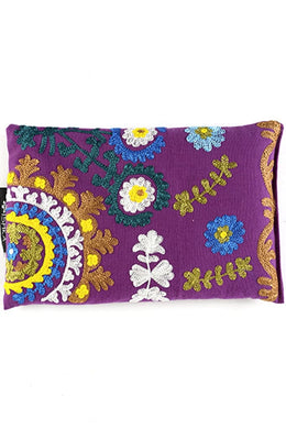 Purple Flower Embroidered Heat Pillow
