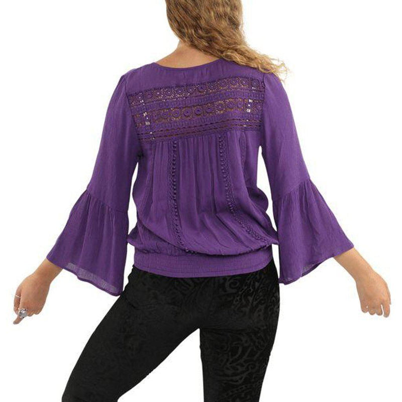 Purple Lace Peasant Top