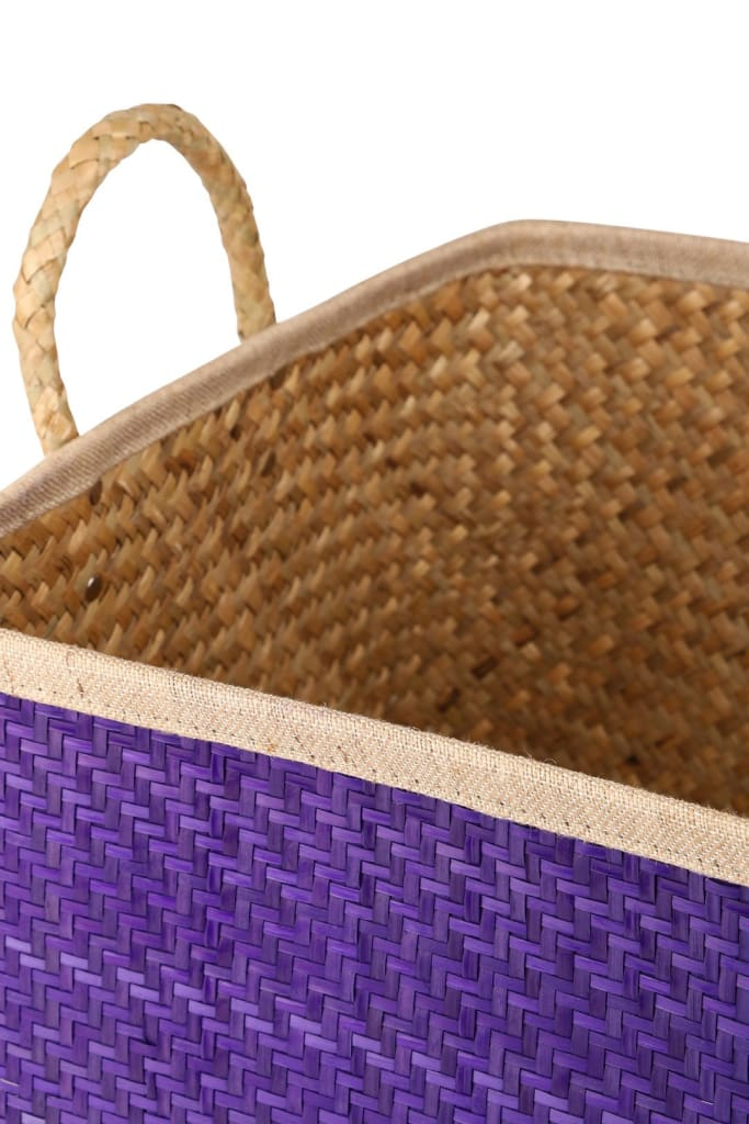 Purple Palm Leaf Basket With Handles