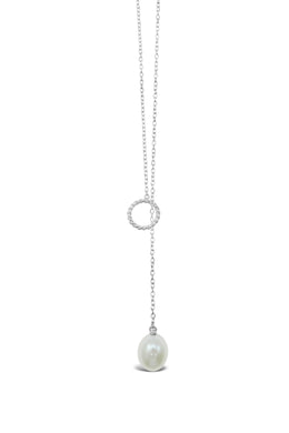 Freshwater Pearl Fob Silver Necklace