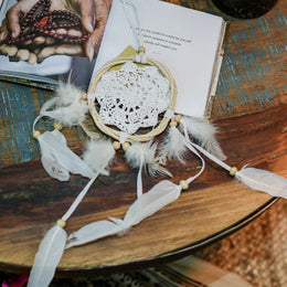 Rattan Feather Beaded Dreamcatcher