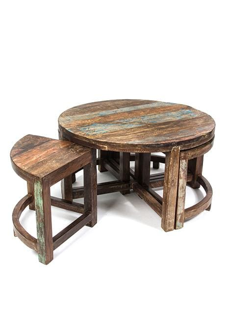 Recycled Table & Stools Setting
