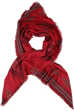 Red Aztec Square Scarf