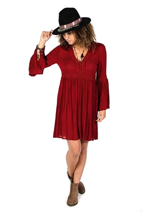 Red Bell Sleeve Dress