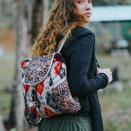 Red & Blue Mix Print Backpack