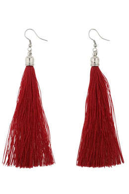 Red Capped Tassel Earrings