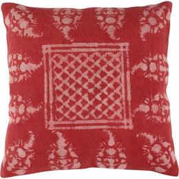 Red Dabu Print Cotton Cushion