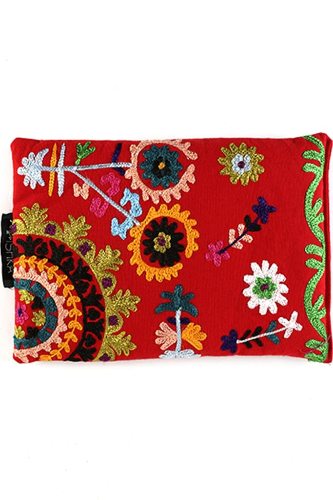 Red Flower Embroidered Heat Pillow