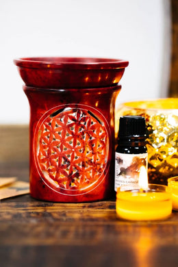 Red Flower of Life Soapstone Oil Burner