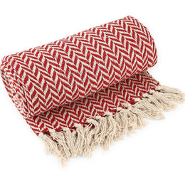 Red Herringbone Cotton Throw