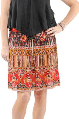 Red Indian Print Knee Length Skirt