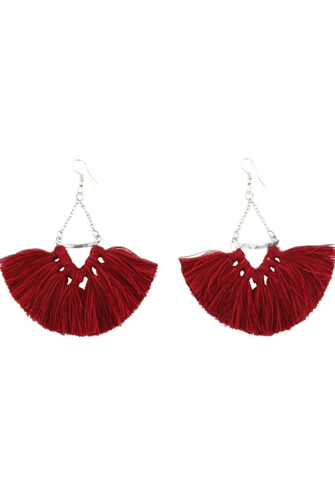 Red V Shape Tassel Earrings