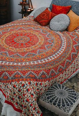Red & White Mandala Bedspread