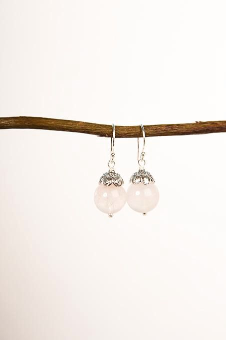Rose Quartz Ball Earrings