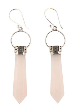 Rose Quartz Circle & Dot Earrings