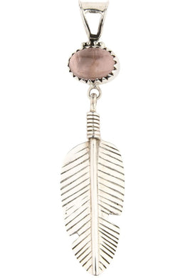 Rose Quartz Feather Pendant