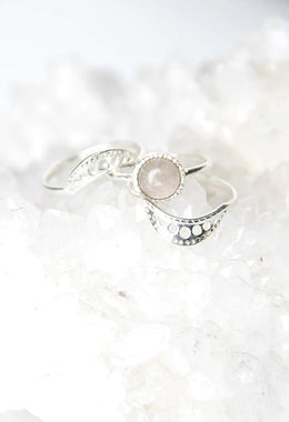 Rose Quartz Ring Set