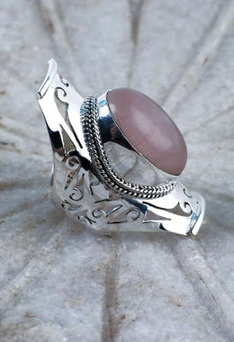 Rose Quartz Square Jali Ring