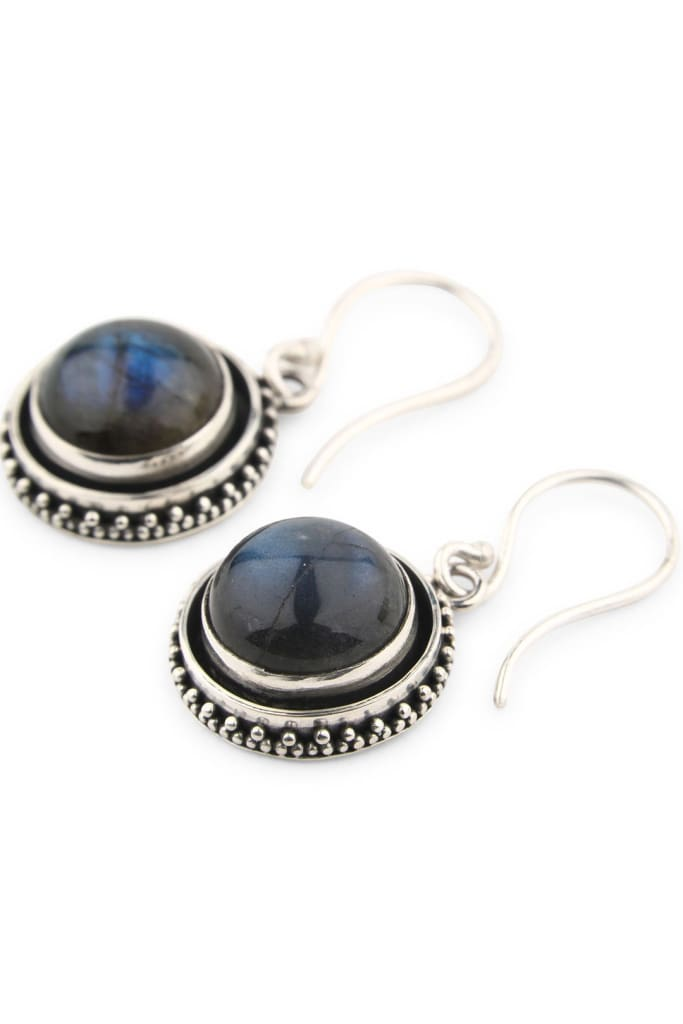 Round Droplet Labradorite Silver Earrings