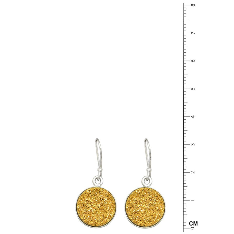 Round Golden Titanium Druzy Earrings