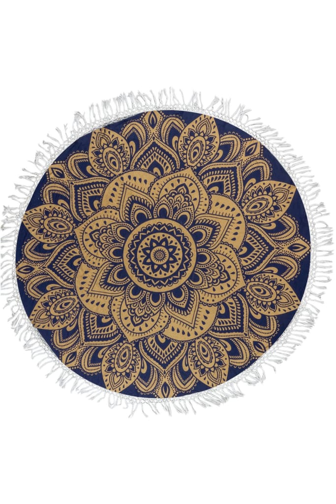 Round Mandala Throw With Tassels